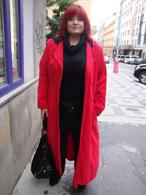 Semišový kabát červený, dlouhý - klopy